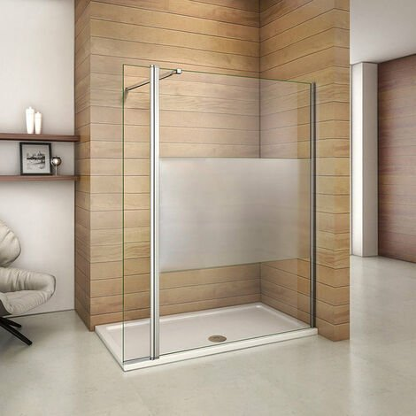 Mamparas de Ducha Panel Fijo 140cm con Lateral Abatible 40cm, Cristal Esmerilado Antical 8mm con Barra ajustable 73cm-120cm