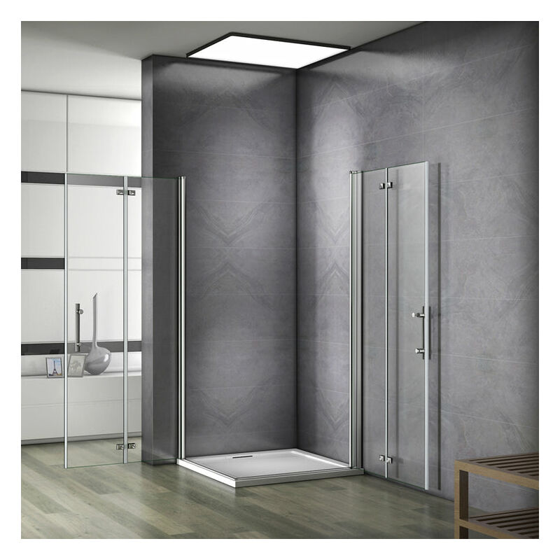 Plato de Ducha Mamparas de Ducha Angular Doble Puerta Plegable 6mm Antical 90x90x185cm
