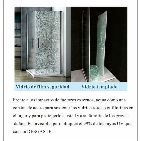 Mamparas ducha Panel Pantalla Fija Vidrio laminado de film seguridad a prueba de explosiciones 8mm - Barra 90cm,120x200cm