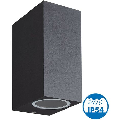 MANATHAN Aplique negro, exterior, rectangular, doble haz GU10 IP54