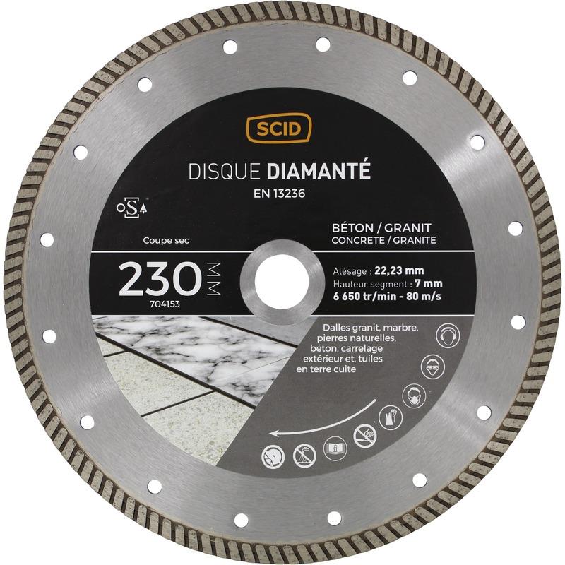 Disque diamanté béton granit crénelé Diamètre 230 mm - Scid