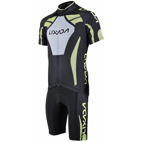 Manches Courtes Homme Maillot Cyclisme Rembourre Court Sport Costume Set Tissu Velo Respirant, L