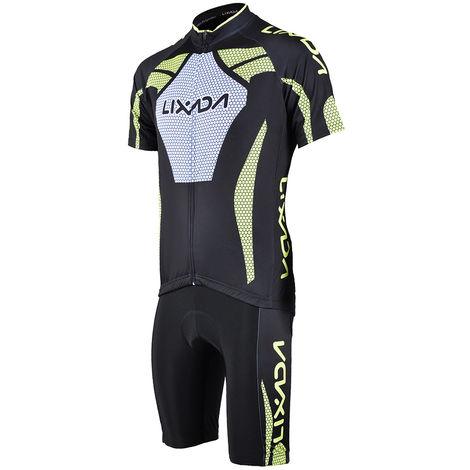 Manches Courtes Homme Maillot Cyclisme Rembourre Court Sport Costume Set Tissu Velo Respirant, Xl