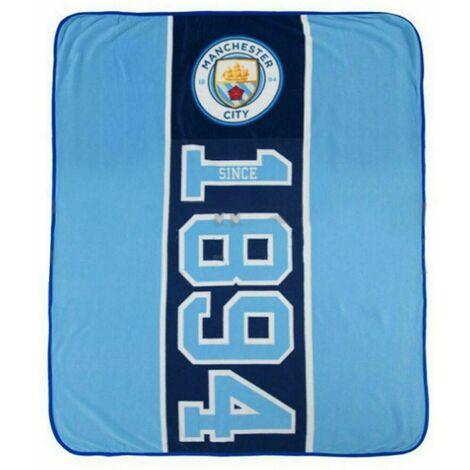 Manchester City FC Fleece Blanket (150cm x 125cm) (Sky Blue/White)