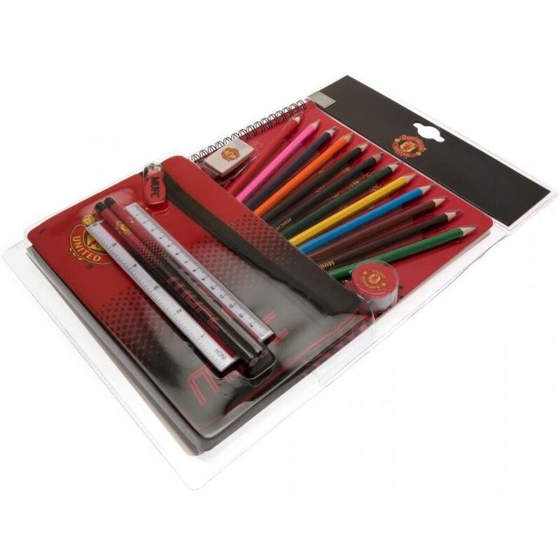Image of Fade Stationery Set (Pack of 19) (One Size) (Red/Black) - Manchester United Fc
