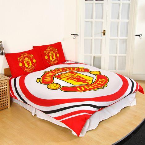 Manchester United FC Official Reversible Pulse Double Duvet Set (Double) (White/Red/Black)