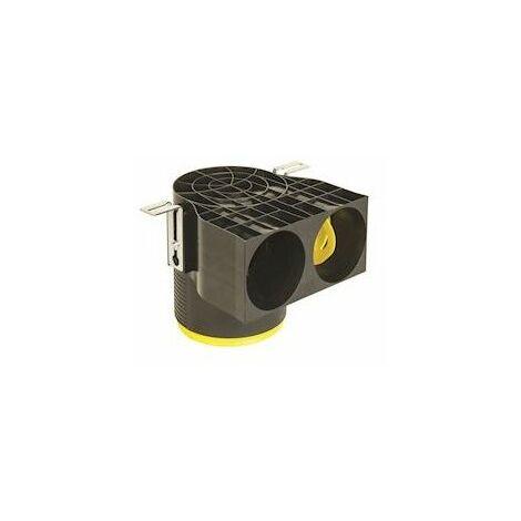 Manchette Optiflex courte D125 coudée à 90DEG avec 2 piquages pour conduit D75