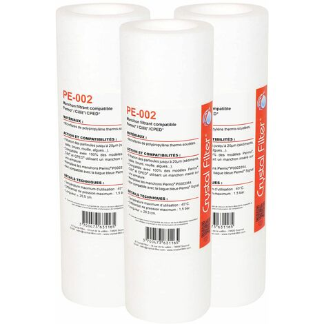 Manchon Crystal Filter® PE-002 compatible Permo Cristal 3 et 4 - 10 - P0003354 (lot de 3)