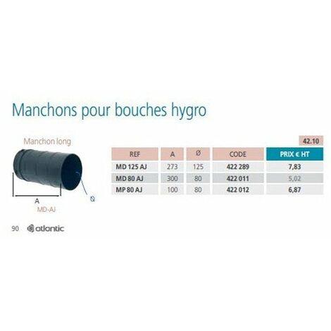 manchon long atlantic 422011 pour bouche hygror/églable diam/ètre 80