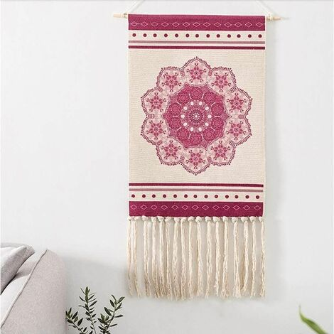 Mandala Bohemian Wall Tapestry Pink Tapestry Indian Flowers Ethnic Boho Handmade Linen Pompom Wall Hanging Nature Psychedelic Wall Decor Wall Towel 50 x 70 cm + 28 cm