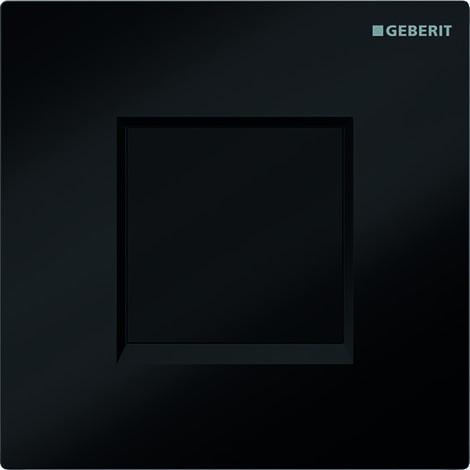 Mando para urinario Geberit con desagüe electrónico, funcionamiento con batería, tapa tipo 30, color: negro intenso RAL 9005 - 116.037.KM.1