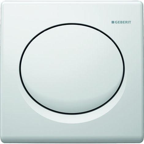 Mando para urinario Geberit con desagüe neumático, placa de accionamiento de plástico, Basic, color: blanco-alpino - 115.820.11.5