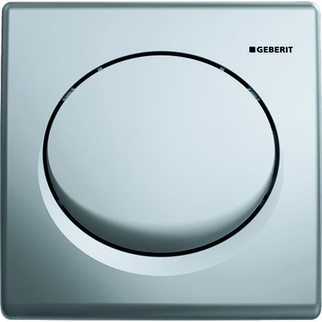 Mando para urinario Geberit con desagüe neumático, placa de accionamiento de plástico, Basic, color: cromado mate - 115.820.46.5