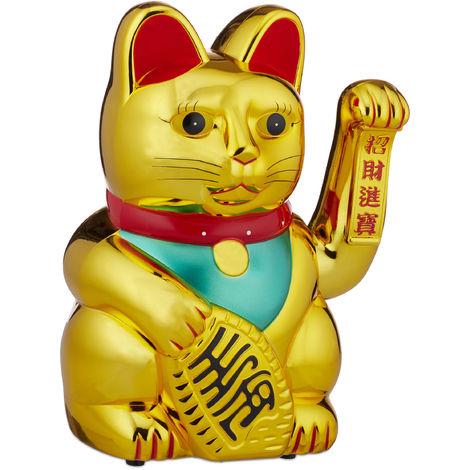 Maneki Neko Gato Chino de la Suerte XXL a Pilas, Plástico, Dorado, 48 cm