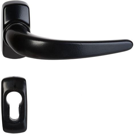 Maneta de puerta en rosetas negras Stellus con agujero cilíndrico Klose Besser