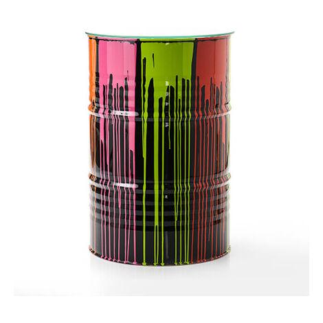 Mange-debout tonneau 60x90 cm en métal gris et multicolore