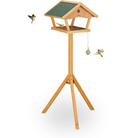 Mangeoire à oiseaux avec support, grand, toit résistant aux intempéries, bois, 137 x 66 x 59 cm, nature/vert