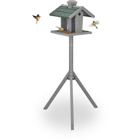 Mangeoire à oiseaux avec support, silo, toit résistant aux intempéries, bois, 135 x 67 x 56 cm, gris/vert