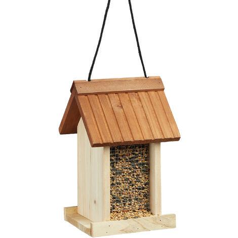 Mangeoire à oiseaux distributeur de nourriture graines en bois à suspendre HxlxP 27 x 17 x 18 cm, marron