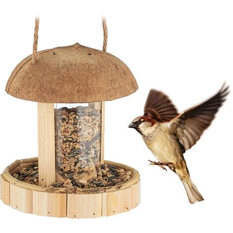 mangeoire à oiseaux en bois, à suspendre, Abris pour balcon & jardin, fait main, HxD: 17 x 14,5 cm, nature