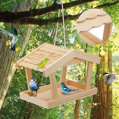 Mangeoire à oiseaux en bois suspendue Maison à oiseaux Mangeoire pour oiseaux sauvages Station d'alimentation de jardin en plein air