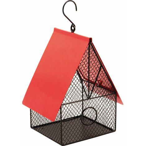 Mangeoire à oiseaux maison de jardin rouge et noire