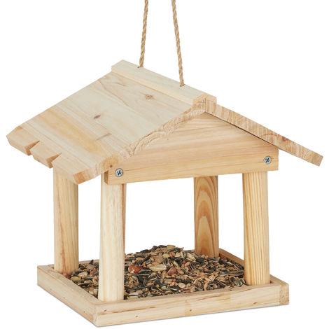 Mangeoire à suspendre, maisonnette pour jardin et balcon en bois non traité, petite mangeoire de pin naturel