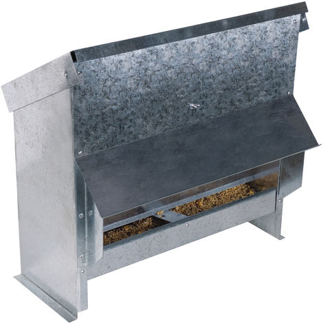 Mangeoire à trémie en acier galvanisé 25 L pour 15 poules