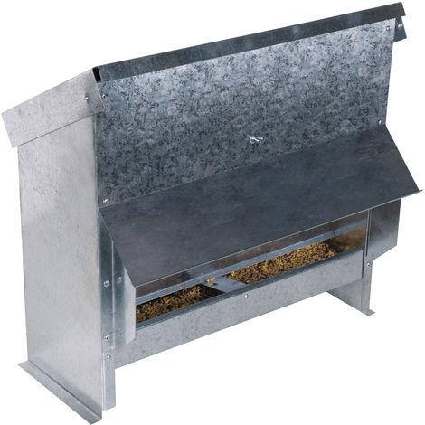 Mangeoire à trémie en acier galvanisé 25 L pour 17 poules