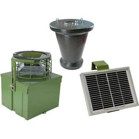 Mangeoire automatique 12V avec capacité de 18kg et chargeur solaire.
