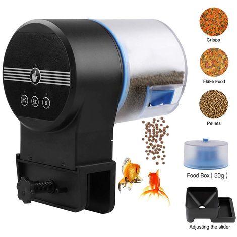 Mangeoire automatique pour poissons Aquarium Timer Feeder Vacation Mangeoire automatique pour flocons Tortue automatique électrique / poisson d'or pour week-end ou vacances avec 2 distributeurs de nourriture pour poissons