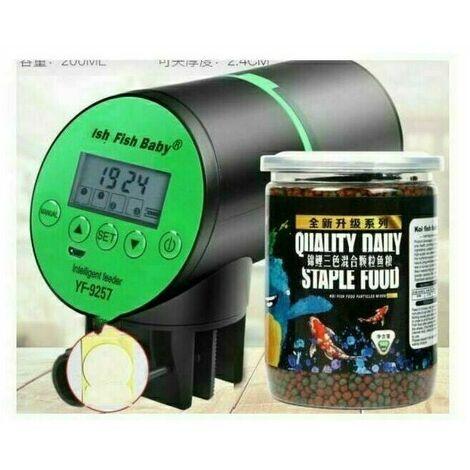 Mangeoire automatique pour poissons Distributeur de nourriture pour poissons Rechargeable Base rotative Super Mute de synchronisation intelligente avec écran LCD pour aquarium Poisson Réservoir
