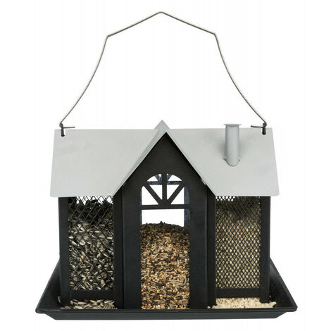 Mangeoire oiseau Villa en métal. Dimensions: 26 × 19 × 19 cm