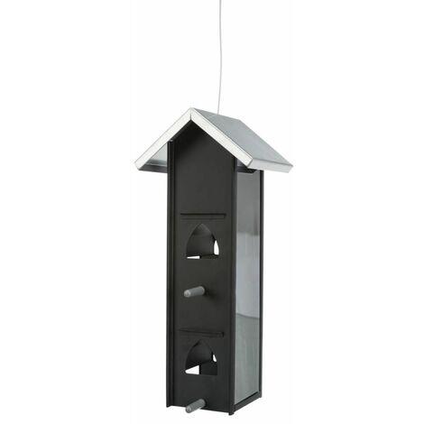 Mangeoire oiseaux à suspendre, en métal/plast. - 750 ml/12 × 28 × 12 cm, noir