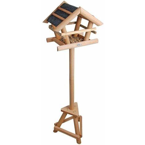 Mangeoire pour oiseaux chalet avec toit bitumé bois - noir