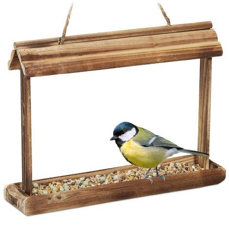 Mangeoire pour oiseaux en bois, à suspendre, HLP: 23,5x32x7,5 cm, jardin, distributeur de nourriture, marron