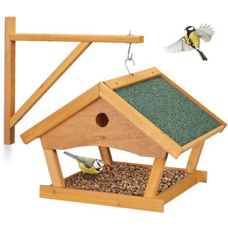 Mangeoire pour oiseaux en bois, à suspendre, HLP: 35x42,5x40,5 cm, jardin, distributeur de nourriture, nature