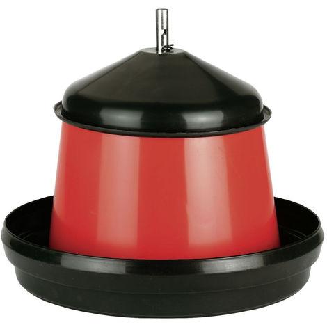 Mangeoire pour volaille en plastique 15 Litres noir et rouge ø 40 cm H 34 cm