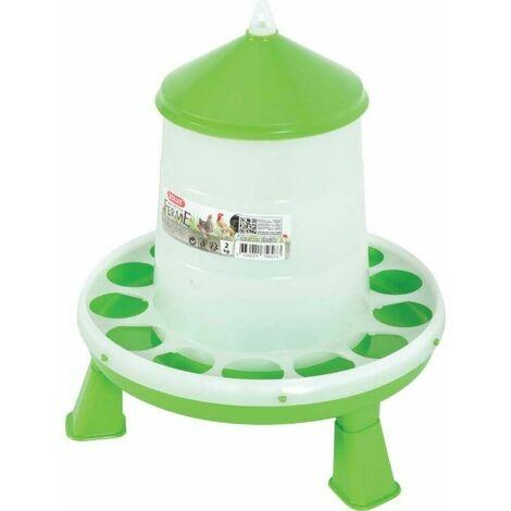 Mangeoire silo en plastique sur pieds 2 kgs - Vert, Transparent