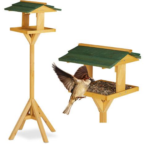 Mangeoire sur pied, Abreuvoir sur pied, Maisonnette oiseau sur pied pour jardin et balcon, grosse mangeoire,117cm, vert-nature