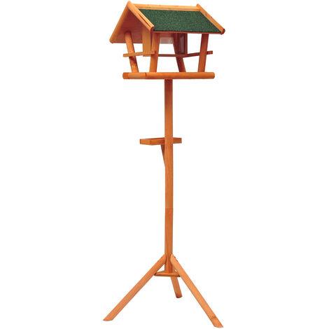 Mangeoire sur pied nichoir a plateau station a oiseaux bois pour exterieur 150cm - Marron