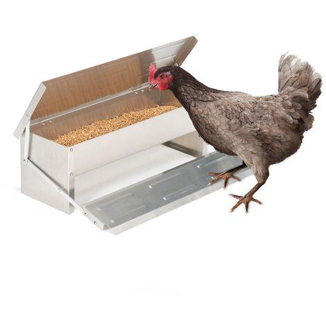 Mangeoire XXL pour poules distributeur automatique à pédale en acier 5 kg
