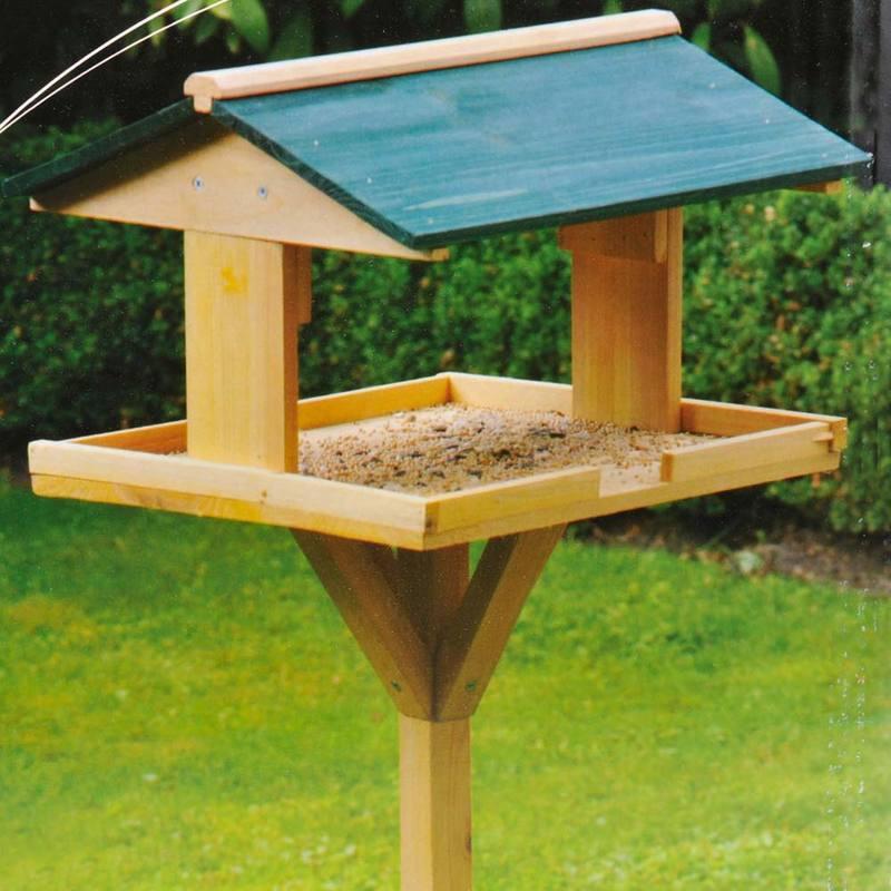 Mangiatoia Casetta Per Uccelli Volatili Con Supporto In Legno 116 X