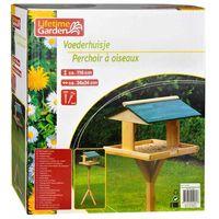 Mangiatoia Casetta per Uccelli volatili con supporto in legno 116 x 34 x 34 cm