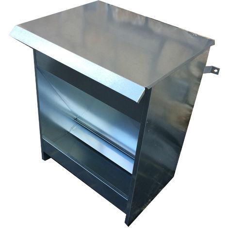 Mangiatoia Semiautomatica Distributore Dispensatore a Tramoggia di Crocchette per Cani. Capacit kg 15. Interamente in Lamiera Zincata. Cm 40 x 33 x H 50