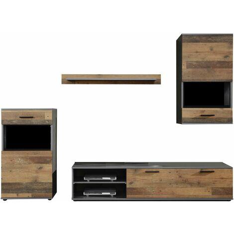 MANGO - Meuble salon/séjour en mélaminé. Meuble TV (max 50 pouces) avec de l'espace de rangement. L-H-P : 246 - 182 - 37 cm - Bois foncé/Gris