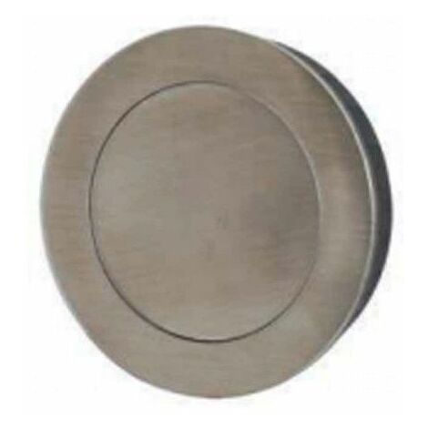Mangos de cuenco empotrados redondos - Con placa de empuje - Diámetro 80 mm - Acero inoxidable cepillado