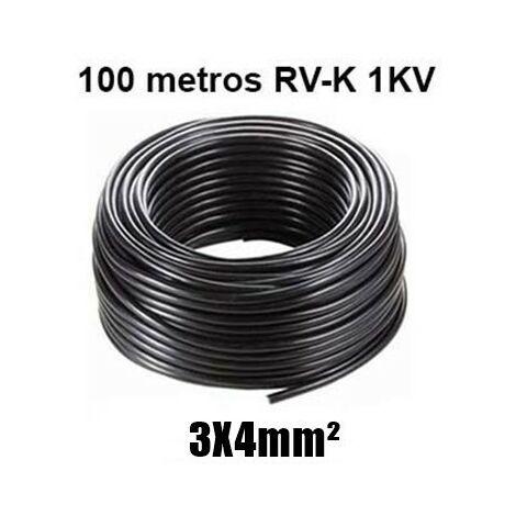 Manguera 3X4mm RV-K0.6/1KV Negra Rollo 100m