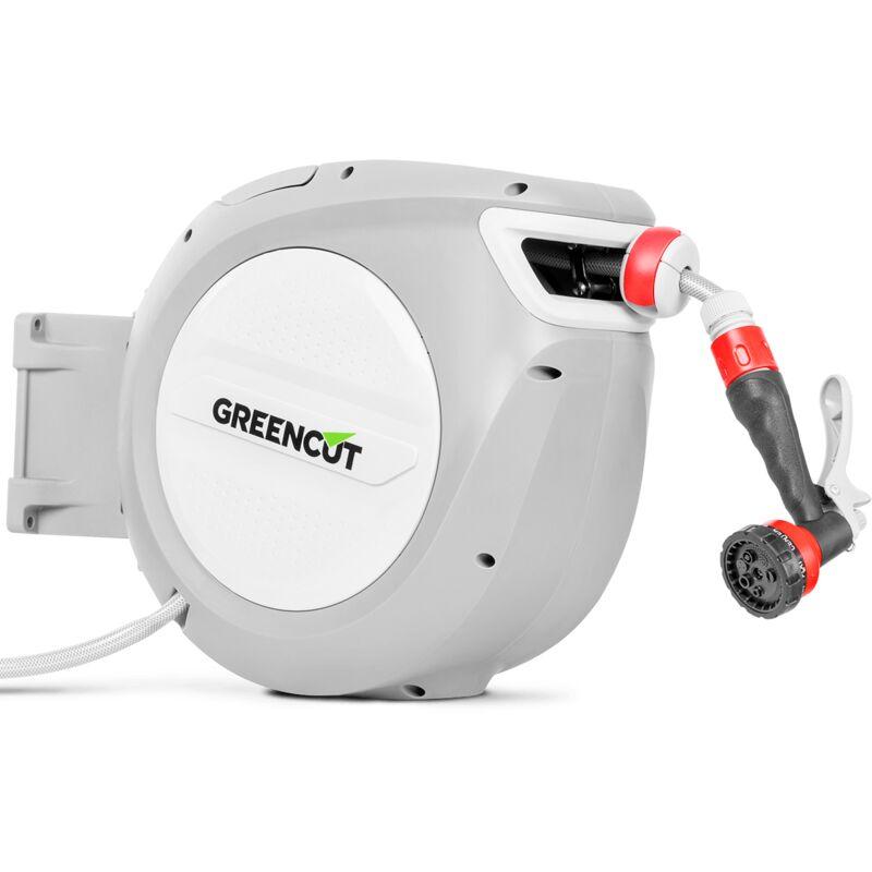 Manguera de agua MNG200 de 20m. Enrollador automático y soporte giratorio 180º para la pared. Boquilla manguera con 9 posiciones - Greencut