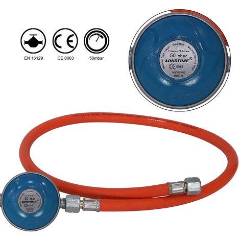 Manguera de butano Manguera de gas Reductor de presión 80cm Manguera de propano Regulador de propano Manguera naranja Regulador de gas
